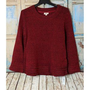 Style And Co Womens XL Canyon Red Flare Sleeve